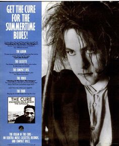 "Full page ad on Spin magazine for The Cure's ""Standing on a beach. The singles"" collection."