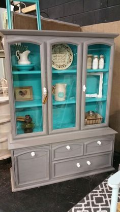 Gray and Turquoise China Cabinet