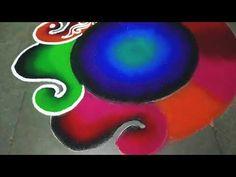 New Beautiful Navratri special Rangoli - YouTube Diwali Special Rangoli Design, Easy Rangoli Designs Diwali, Indian Rangoli Designs, Simple Rangoli Designs Images, Rangoli Designs Flower, Free Hand Rangoli Design, Small Rangoli Design, Colorful Rangoli Designs, Rangoli Ideas
