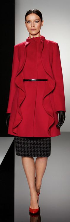 "Cinzia Rocca's #red #coat we adore the special ruffles like waves on the front..so ""curvy"" :-)"
