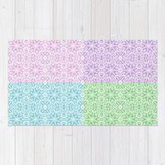 Buy Area & Throw Rugs with design featuring Pastel Panel Pink Lavender Green Blue by 2sweet4words Designs and adorn your home with both style and comfort. Available in three sizes (2' x 3', 3' x 5', 4' x 6').