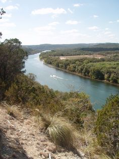 View from the hiking trail in Steiner Ranch, Austin, TX of the Colorado River.