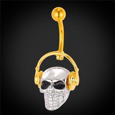 Gothic Body Jewelry Skeleton Skull With Walkman Music Belly Button Rings Women Gold Plated Navel Piercing Nombril DB2162  #accessories #picoftheday #AlexandriaVa #sale #UniversityofVirginia #love #lovepierceme #GeorgeMasonUniversity #Philly #WashingtonDC