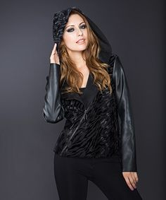 Another great find on #zulily! Black Zebra Asymmetrical-Zip Faux Leather Jacket by Adore #zulilyfinds