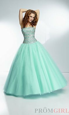 Strapless Floor Length Ball Gown at PromGirl.com