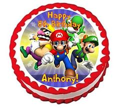 Super Mario Bros Personalized Edible Cake Topper Image -- 7.5 Round => Startling review available here at : baking decorations