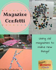 Crafting with confetti - using old magazines to make new things! #createrecycle