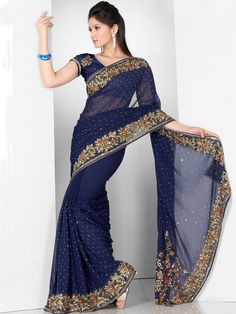 Royal Blue Faux Georgette Saree with Blouse. MOM