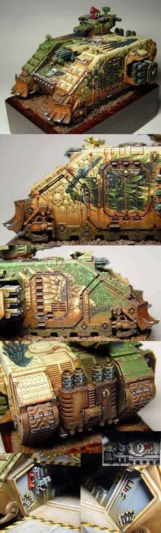 Warhammer 40k, Custom Dark Angels Space Marines Land Raider, which incredible free-hand paint work on it
