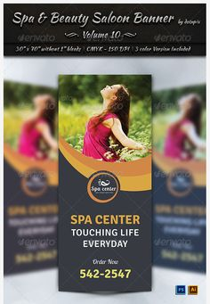 13 Spa & Beauty Saloon Tri-Fold Brochure PSD Template