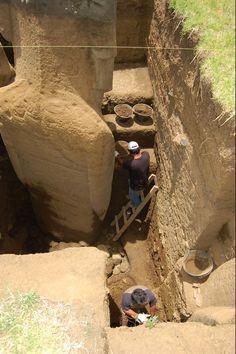 Los Moais de la Isla de Pascua tienen cuerpos enterrados bajo sus cabezas. Bajo toneladas de tierra, las cabezas, ocultaban cuerpos completos con pies y manos. Los trabajos de limpieza de las...