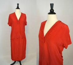 1970s Lipstick red and tiny black polka dot blouse and matching skirt.  Blouse has a deep V-neck collar with a back bow tie collar in the