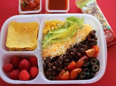 This was made for my taco salad loving teen nephew. I try to make it a little different each time. Container: EasyLunchBoxes Top Left: Ortega Mini Fiesta Flats Bottom Left: Raspberries Right Side: ...