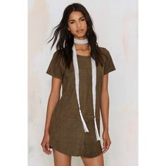 This is the Girl Vegan Suede Tee Dress ($58) ❤ liked on Polyvore featuring dresses, green, green tee shirt dress, tshirt dress, green shift dress, faux leather dress and brown shift dress