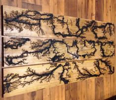 Solid Wood Board 45* Corners Lightning Board Fractal Wall Art Routered Edge High Voltage Lichtenberg Figures for Wood Burning // Burnt Wood Wall Hanging Artwork Home Office Wooden Decor picture piece 12 X 24 Plain Finish