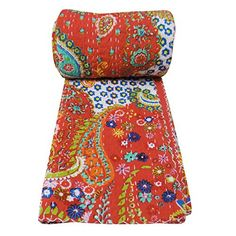 """Red Kantha Style Traditional Gudri Abstract Print Twin Size Quilt Bedspread 90"""" X 62"""" ibaexports"""