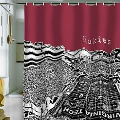 DENY Designs Bird Ave Virginia Tech Maroon Shower Curtain ($80) ❤ liked on Polyvore featuring home, bed & bath, bath, shower curtains, deny designs e deny designs shower curtains