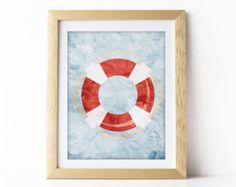 """Blue and Red Nautical Sail Boat Little Boys Nursery Art Print 