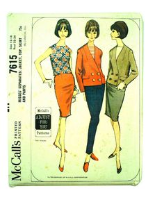 1960's Retro Sewing Pattern: 1964 -McCalls Pattern No. 7615- Womens sewing pattern for misses separates - jacket, top, skirt and pants. Double breasted collarless jacket, sleeveless top, slim three-panel skirt and long pants. Jacket has long set-in sleeves, fake pocket flaps and four buttoned closing. Neck and fronts are interfaced, may be lined. Top has square neckline, center back zipper. Skirt is dart fitted, low back pleat, left side zipper. Dart fitted pants have center back zipper…