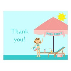 Cute pool party girl's thank you postcard