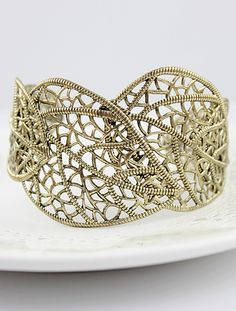 Gold Hollow Leaves Cuff Bracelet US$6.10