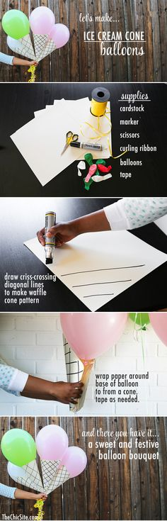 how to make birthday cone balloons