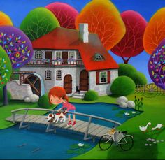 Paintings and illustrations by Iwona Lifsches. Art presentation and sale of original paintings and other art products. Oil Painting Texture, Cottage Art, Naive Art, Whimsical Art, Painting For Kids, Easy Drawings, Painting Inspiration, Cute Wallpapers, Cute Art