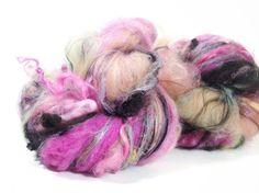 2.8 oz art batt set for art yarn spinners. Includes super crimpy merino locks sparkles bamboo and nylon