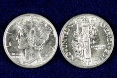 The Mercury dime series began in 1916 and ran until 1945. Adolph A. Weinman's design featured lady liberty adorned with a winged cap. The wings were to represent freedom of thought but the design was misinterpreted by many to be a rendition of the roman god Mercury who famously wore a winged helmet. Struck in 90% silver these are highly collectable in Brilliant Uncirculated grade.