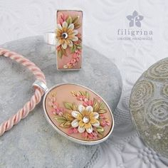 Handmade SET of ring and pendant, pink-gold floral motif in silver tone metal bezel, polymer clay filigree applique technique, vintage style