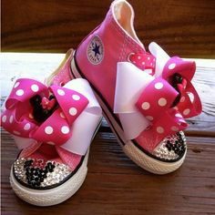 Minnie Mouse Swarovski High Top Converse Infant/Toddler Size - Pink... ($90) ❤ liked on Polyvore featuring baby and baby stuff