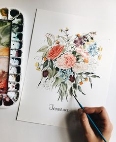 Custom Wedding Watercolor Painting Bouquet Commission for Tennessee Wedding   Spring & Summer bold & vibrant colors   Original Watercolor painting by botanical watercolor painter & artist Shealeen Louise