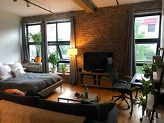My Brooklyn studio (not one bedroom) New York Studio Apartment, Studio Apartment Layout, Studio Apartment Decorating, Studio Apartment Furniture, Portland Apartment, One Bedroom Apartment, Apartment Interior, Home Bedroom, Apartment Living
