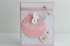 Congratulations to the new parents, baptism, christening or for the baby shower, present this beautiful pink baby girl handmade card.  The base of the card is white cardstock and then layered with lig