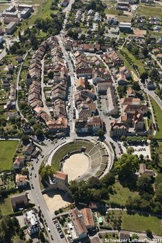 Aerial view on the Roman Arena of Aventicum, Helvetia (Avenches, Switzerland).