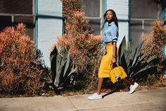 Model Jourdan Dunn poses with Mercer dome satchel bag from Michael Kors