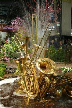 Musical instrument fountain - Unique Backyard And Garden Fountains