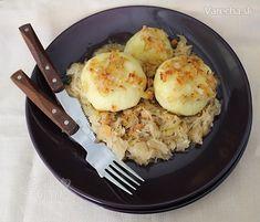 Zemiakové knedle plnené mäsom s kyslou kapustou (fotorecept) - Recept Dumplings, Grains, Pizza, Eggs, Bread, Breakfast, Food, Morning Coffee, Brot