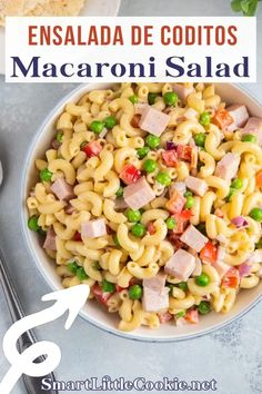 This delicious ham and macaroni salad recipe is a wonderful addition to any holiday table and can be enjoyed all year round. Easy to make with a few simple ingredients, ensalada de coditos will be a hit with everyone who tries it! Ensalada de coditos is always a staple side dish for our family gatherings. Wonderfully creamy, it's so easy to make with just a few simple ingredients. | Smart Little Cookie @smartlilcookie #macaronisalad #ensaladadecoditos #smartlittlecookie Lunch Box Recipes, Easy Salad Recipes, Side Dish Recipes, Pork Recipes, Lunch Ideas, Delicious Recipes, Summer Recipes, Fall Recipes, Holiday Recipes