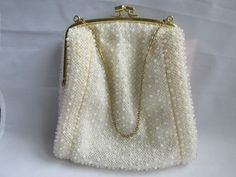 Small White Beaded Cloth Evening Bag Purse by EauPleineVintage
