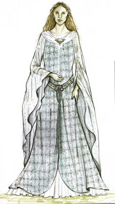 """Concept art for Galadriel's prologue gown from """"Lord of the Rings: The Fellowship of the Ring"""" (2001).  The delicate floral pattern embroidered on the voluminous sleeves is a direct contrast to the more heavily embellished panels of the gown.  A deep cowl neck was used for the collar."""