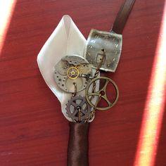 Steampunk boutineer from girl ran away weddings. Www.girlranawayweddings.etsy.com