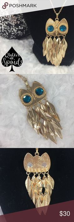 "Blue Eyed Owl Statement Necklace What a glamorous piece! Featuring the beloved Owl as it's design concept, each necklace features the owl head design with two big blue rhinestone eyes. Below dangle a bunch of gold metal feathers. Truly for those who want to stand out! These are long sweater necklaces with a 14"" chain, but can easily be moved to a shorter chain if you prefer. The Owl Pendent itself is about 3.5 inches long and 1.5"" wide.   ♠️No Trades ♠️No Paypal ♠️No asking ""lowest,"" please…"