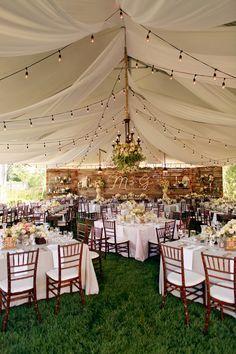 tented wedding reception, photo by Pepper Nix Photography http://ruffledblog.com/backyard-chic-utah-wedding #reception #weddingideas #tent