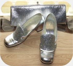 Vintage 60s METALLIC Silver High Heel Shoes & by IntrigueU4Ever, $45.00