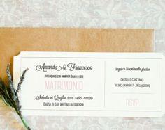 Partecipazione di nozze fiori acquerello di GoodLifeEventi su Etsy