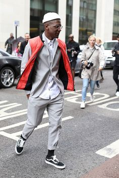 Tailored suit puffer vest and old school vans !!!!