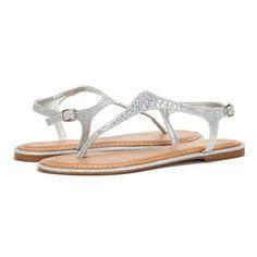 DREAM PAIRS TANGY Women Rhinestone Studded T-Strap Gladiator Summer Flat Sandals