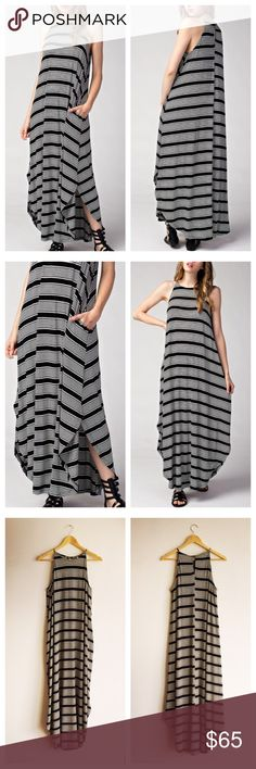 """⭐️LAST ONE!⭐️🌵HP🌵Black Striped Maxi Dress Sleeveless Striped Maxi Dress BLACK - Sizes S,M,L available. Halter style maxi dress featuring in-seam side pockets, rounded hem, relaxed fit, and keyhole closure with button at center back neck. 96% Rayon / 4% Spandex. Length measurements from center front neckline: Small 51"""", M 52"""", L 53"""". 🌵HP! BEST IN DRESSES & SKIRTS PARTY 8/16🌵 Boutique Dresses Maxi"""