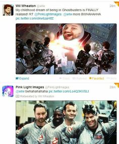This is WIL WHEATON and his photoshop twitter stream.  He retweeted one of my images recently - and Ernie Hudson STARRED it! HAHAHA!!!!